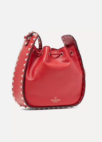 VALENTINO ROCKSTUD SMALL LEATHER DRAWSTRING BUCKET BAG, RED