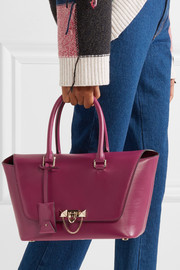 Demilune studded leather tote