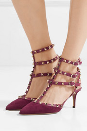 Valentino Rockstud leather-trimmed suede pumps