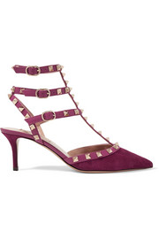 Valentino Valentino Garavani The Rockstud leather-trimmed suede pumps