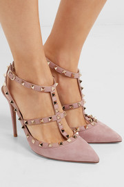 Valentino Rockstud suede pointed-toe pumps