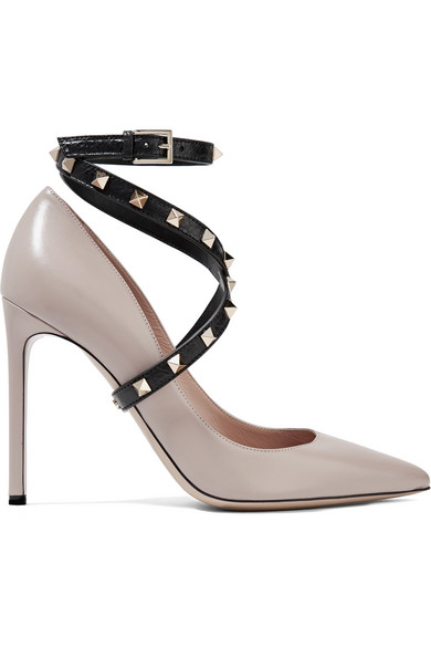 Studwrap Leather Ankle-Strap Pumps in Blush