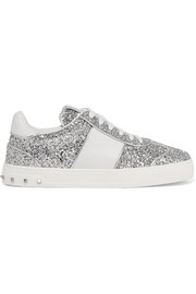 Valentino Fly Crew studded glittered leather sneakers
