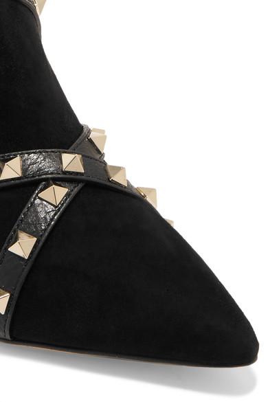c7e2d3ad2e5c Valentino Garavani Studwrap leather-trimmed suede ankle boots.  1