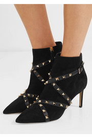 Valentino Studwrap leather-trimmed suede ankle boots