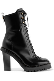 Valentino Soul Rockstud glossed-leather boots