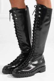 Valentino Soul Rockstud lace-up glossed-leather knee boots