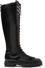 Soul Rockstud lace-up glossed-leather knee boots