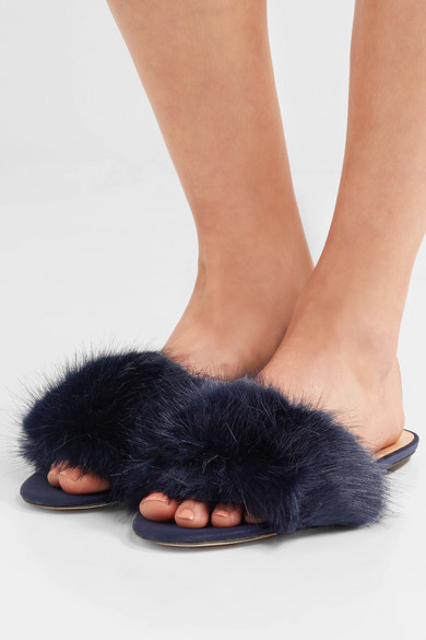 With Credit Card Free Shipping Free Shipping View J.Crew Faux Fur Slides - Navy Shop For TPDSh7DTNL