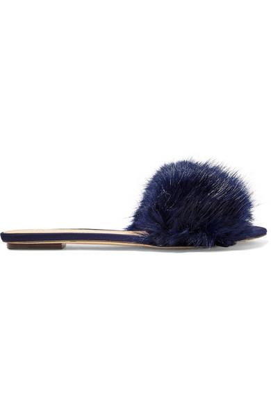 J.Crew - Faux Fur Slides - Navy