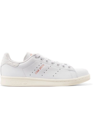 Stan Smith snake effect trimmed leather sneakers