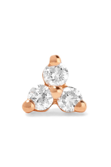 Maria Tash - Tiny 14-karat Rose Gold Diamond Earring
