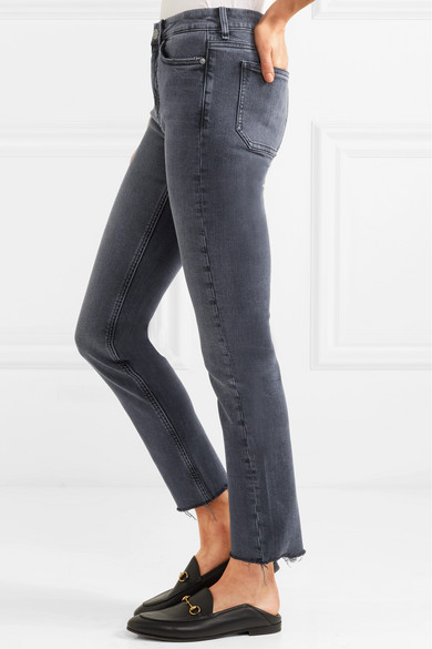 Daily Frayed High-rise Straight-leg Jeans - Charcoal Mih Jeans GIXKvs1uh