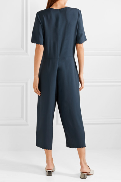 M.i.h Jeans Eva Jumpsuit aus glänzendem Crêpe mit Häkelbesatz