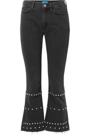 M.i.h Jeans Marty cropped studded high-rise flared jeans