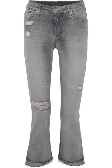 Mother The Insider Crop hoch sitzende Schlagjeans in Distressed-Optik