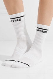 Intarsia ribbed stretch cotton-blend socks