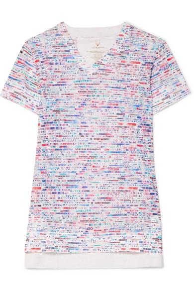 LUCAS HUGH Glitch Printed Stretch-Mesh T-Shirt in White