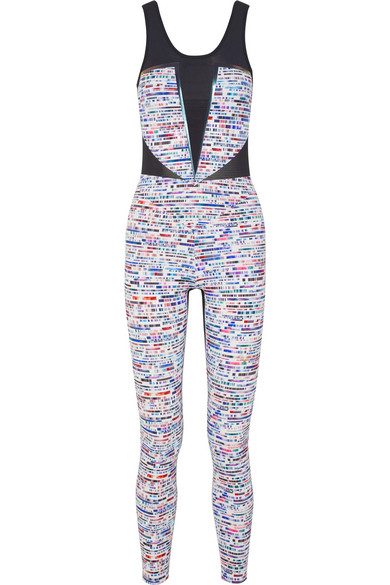 LUCAS HUGH Glitch Mesh-Paneled Printed Stretch-Knit Bodysuit in Blue