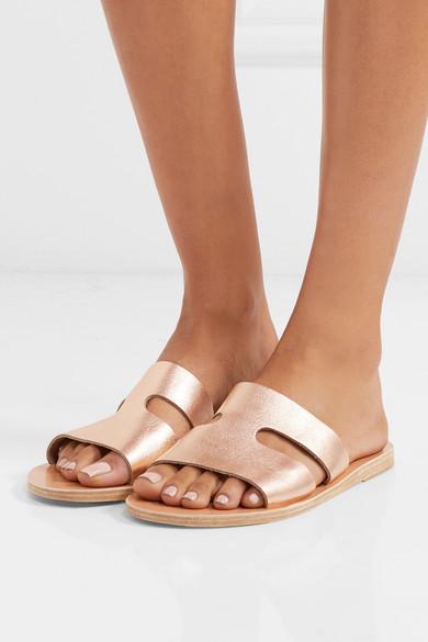 64ddd26c80e Ancient Greek Sandals | Apteros cutout metallic leather slides | NET ...