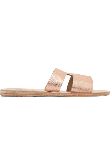 Apteros Cutout Metallic Textured-Leather Slides in Pink from Eleonora Bonucci
