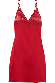 Stella McCartney Lottie Lusting Leavers lace and stretch-silk satin chemise
