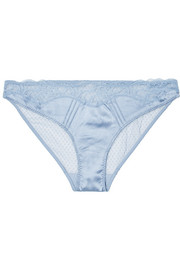 Stella McCartney Eloise Enchanting lace-trimmed stretch-satin and mesh briefs