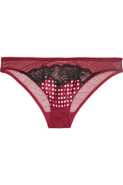 Ellie Leaping Leavers lace, polka-dot satin and stretch-tulle briefs