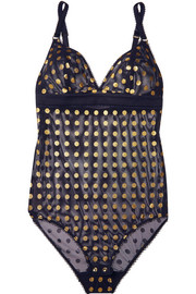 Florence Fluttering Body aus Mesh mit Polka-Dots