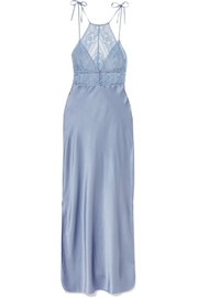 Stella McCartney Ophelia Whistling stretch-Leavers lace and silk-satin chemise
