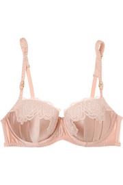 Stella McCartney Allegra Laughing stretch-Leavers lace and silk-satin underwired balconette bra