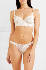 Stella McCartney Isabel Floating corded Leavers lace, point d'esprit tulle and silk-blend satin thong