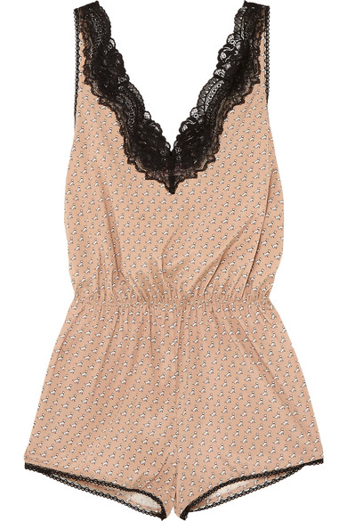 Poppy Snoozing Lace-Trimmed Printed Stretch Silk-Satin Playsuit, Nude
