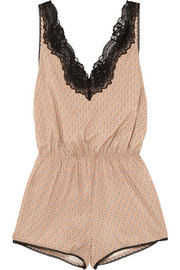 Poppy Snoozing lace-trimmed printed stretch silk-satin playsuit