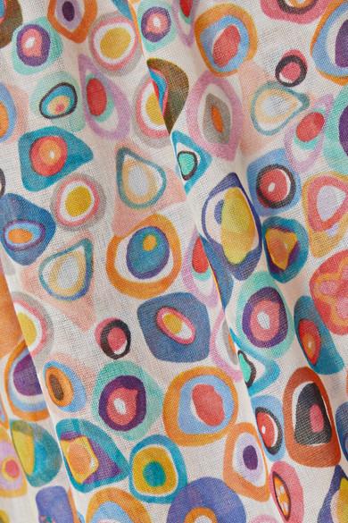 Missoni Mare bedrucktes Maxikleid aus Baumwoll-Voile mit Besatz aus Strick in Häkeloptik
