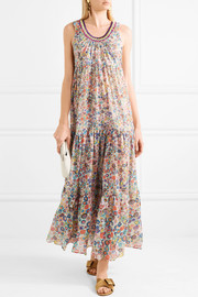 Mare crochet knit-trimmed printed cotton-voile maxi dress