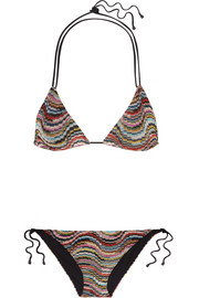 Missoni Mare Onda metallic crochet-knit triangle bikini