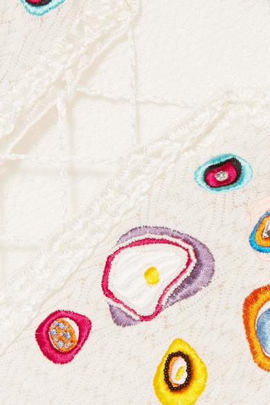Missoni Mare Unito Nero bestickter Kaftan aus Strick in Häkeloptik