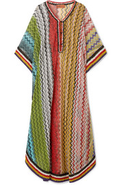 Mare metallic crochet-knit kaftan
