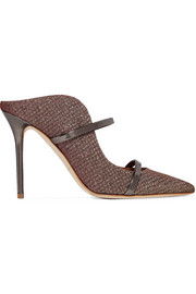 Maureen leather-trimmed metallic mesh mules