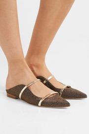 Maureen leather-trimmed metallic mesh point-toe flats