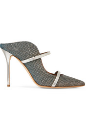 Malone Souliers Maureen leather-trimmed metallic mesh mules
