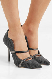Maureen leather-trimmed metallic mesh pumps