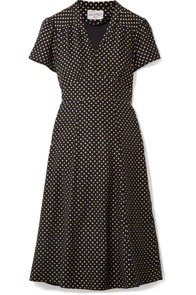 HVN - Morgan Metallic Polka-dot Silk Crepe De Chine Dress - Black