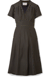 Morgan metallic polka-dot silk crepe de chine dress