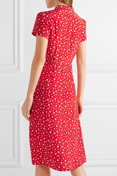HVN Morgan bedrucktes Kleid aus Crêpe de Chine aus Seide