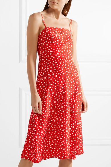 HVN Nora bedrucktes Kleid aus Crêpe de Chine aus Seide