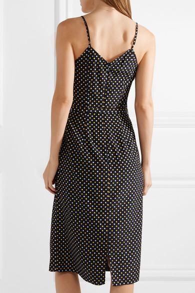 HVN Lily Kleid aus Crêpe de Chine aus Seide mit Metallic-Polka-Dots