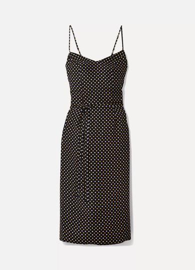 HVN - Lily Metallic Polka-dot Silk Crepe De Chine Dress - Black