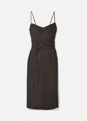 Lily metallic polka-dot silk crepe de chine dress